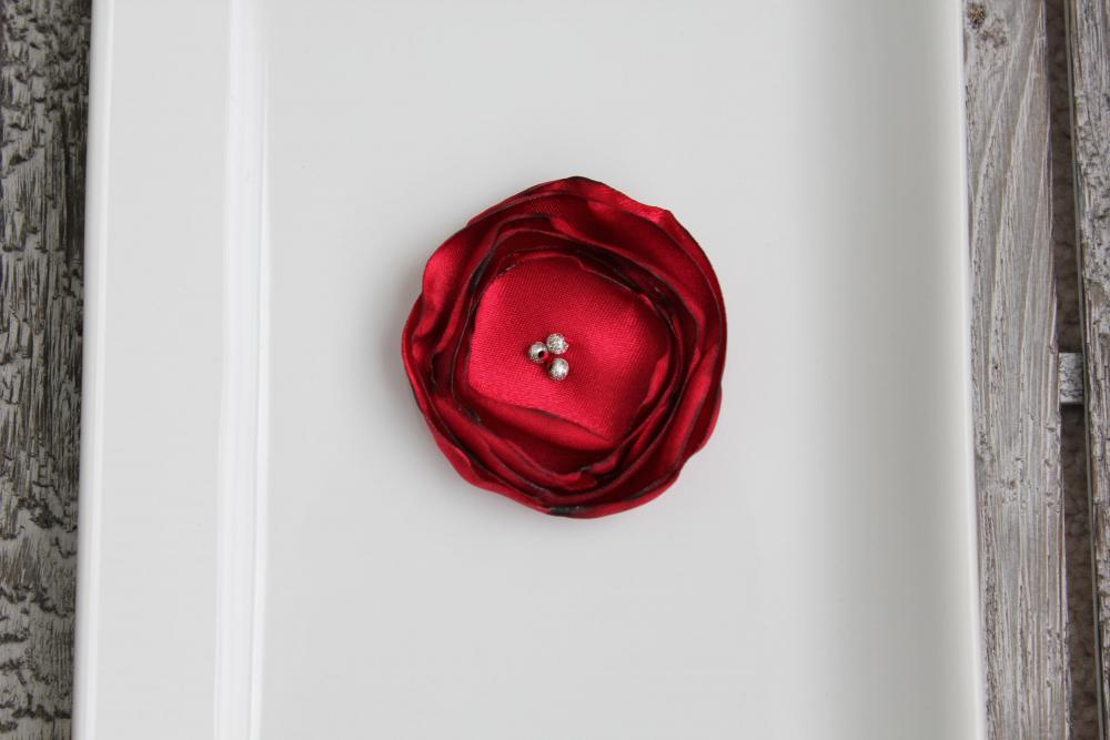 Red Burnt Satin Flower 4pcs.